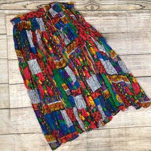 VINTAGE Liz Baker Plus 1X Colorful Crinkle Skirt